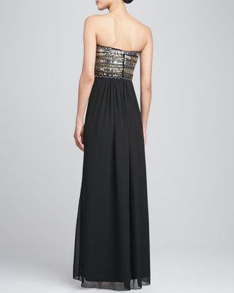 Aidan Mattox Strapless Chiffon High-Slit Gown, Black