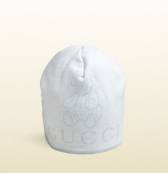 Gucci Knit Hat With Teddy Bear And Logo