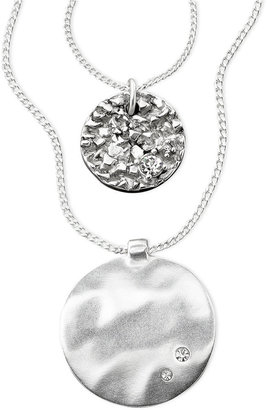 Kenneth Cole New York Pendant, Silver-Tone Mixed Metal and Crystal Accent