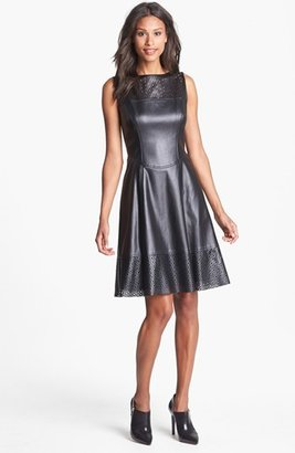 Maggy London Perforated Faux Leather Fit & Flare Dress