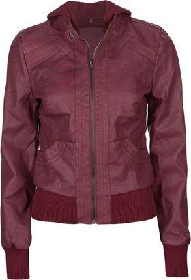 Full Tilt Faux Leather Womens Hooded Jacket