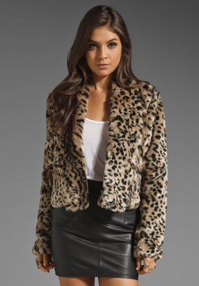 BB Dakota Damian Leopard Printed Faux Fur Coat