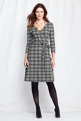 Lands' End Women's Petite 3/4-sleeve Pattern Ponté Faux Wrap Dress
