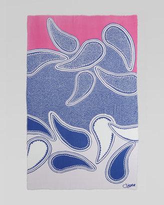 Diane von Furstenberg Campbell Scarf, Paisley Clouds Blue