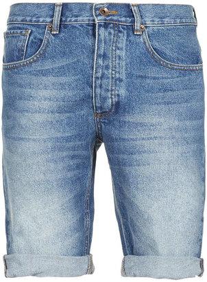 Topman Blue Mid Wash Denim Shorts