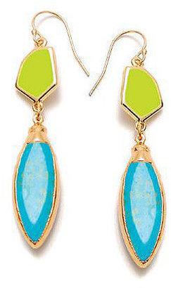 Janna Conner Ivana Earrings, Turquoise/Neon Yellow Enamel 1 ea