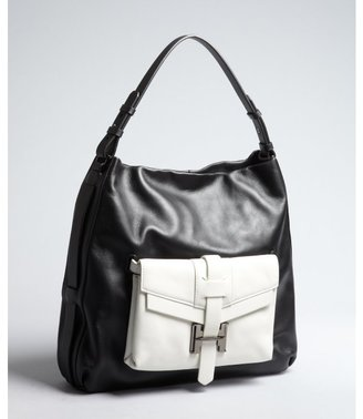 Halston black and white leather 'Preppy' shoulder bag