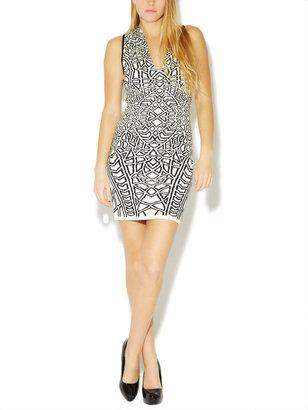 Arden B Geometric Print Jacquard Sweater Dress