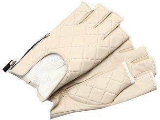 Rachel Zoe Fingerless Quilted Glove with Zipper (Cream) - Accessories