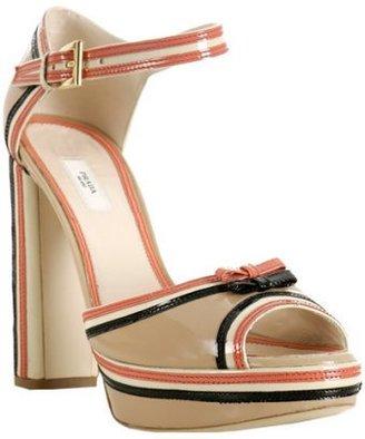 Prada beige patent leather bow detail sandals