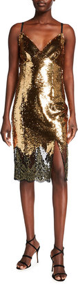 Marchesa Notte Sequin V-Neck Lace-Hem Slip Dress