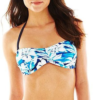 JCPenney Ocean Dreams® Pacific Sunset Cove Twist Bandeau Swim Top