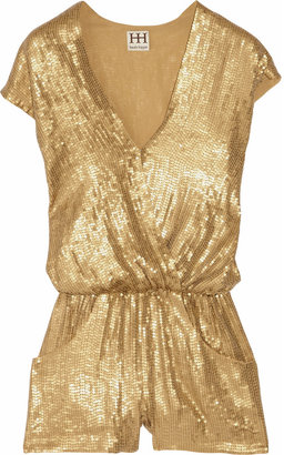 Haute Hippie Sequined silk playsuit