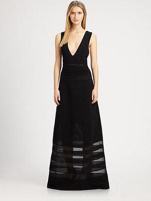 M Missoni Rib-Stitch V-Neck Maxi Dress
