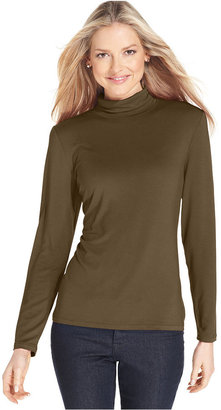 Style&Co. Petite Top, Long-Sleeve Mock Turtleneck