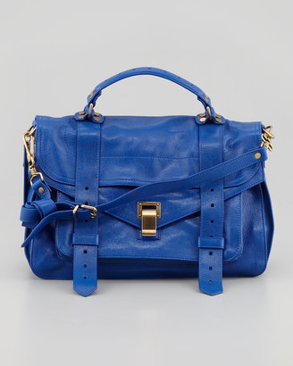 Proenza Schouler PS1 Medium Leather Satchel Bag, Blue