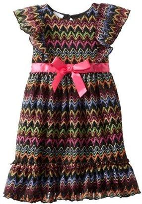 Nannette Girls 2-6X 1 Pieced Zig Zag Bow Dress