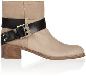 Chloé Textured-leather ankle boots