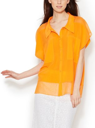 Tracy Reese Silk Collared Combo Shirt
