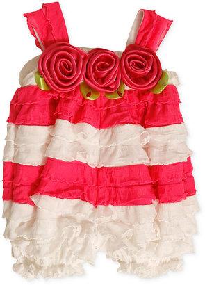Bonnie Baby Dress, Baby Girls Pink and White Eyelash Ruffle Bubble Dress