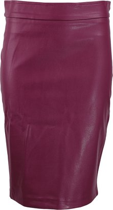 Avenue Montaigne Faux Leather Pull-On Skirt