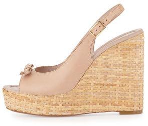 Kate Spade Della Leather Wedge Sandal, Pale Pink