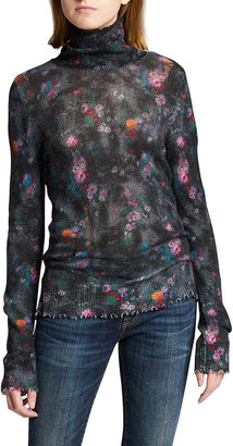 R 13 Slim Floral Turtleneck Sweater