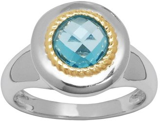 18k Gold Over Silver & Sterling Silver Swiss Blue Topaz Ring