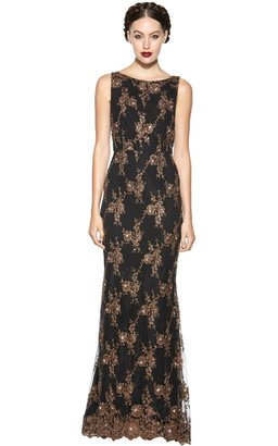 Alice + Olivia Katrina Sleeveless Keyhole Open Back Long Gown