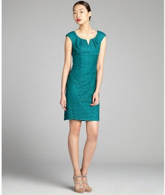 Adrianna Papell teal cotton blended lace draped pleated overlay dress