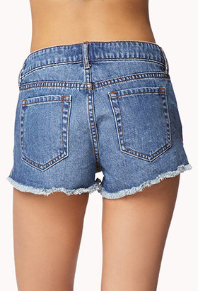 Forever 21 Embroidered Denim Cut Offs