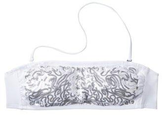 Xhilaration Juniors Sequin Bandeau Swim Top -White