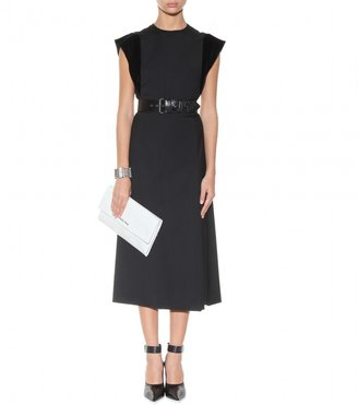 Miu Miu Belted wool dress with ruffled sleeves