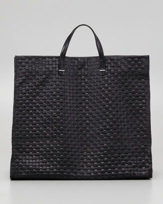 Clare Vivier Basket-Weave Leather Simple Tote