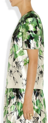 Prabal Gurung Floral-print cotton and silk-blend satin blouse