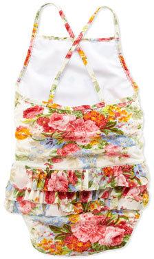 Ralph Lauren Floral-Print One-Piece Swimsuit, White, 2T-3T