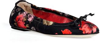 D&G Dolce & Gabbana Black Floral Print Ballerina Flats
