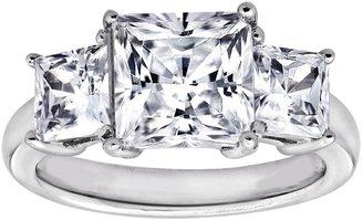 Diamonique 3.50 cttw 3 Stone Princess Cut Ring,Platinum Clad
