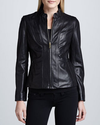 Neiman Marcus Elie Tahari Exclusive for Corsette Ruched-Collar Leather Jacket