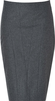 Brunello Cucinelli Stretch Wool Pencil Skirt in Heather Grey
