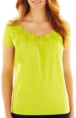 JCPenney St. John's Bay St. Johns Bay Smocked-Neck Top