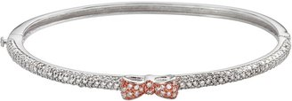 Sophie Miller 14k Rose Gold Over Silver & Sterling Silver Cubic Zirconia Bow Bangle Bracelet