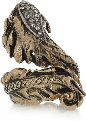 Roberto Cavalli Swarovski crystal leaf and snake ring