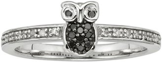Sterling Silver 1/10-ct. T.W. Black & White Diamond Owl Ring