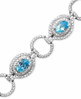 Macy's Sterling Silver Bracelet, Blue Topaz (4-3/4 ct. t.w.) and Diamond Accent
