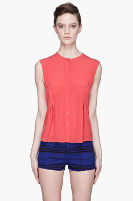 See by Chloe Red Side Dart Button Up silk Blouse