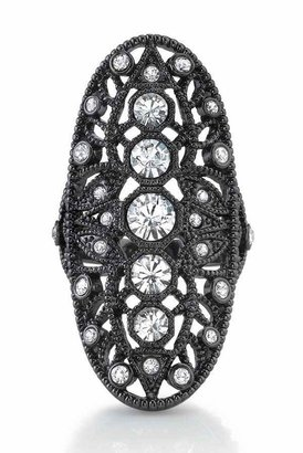 House Of Harlow Gunmetal Oval Ring