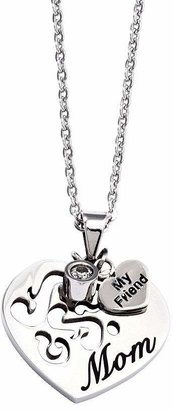 """Steel By Design Stainless Steel Mom Heart Pendant with 24"""" Chain"""