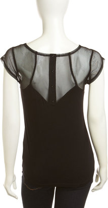 Design History Mesh Button-Back Tee, Onyx