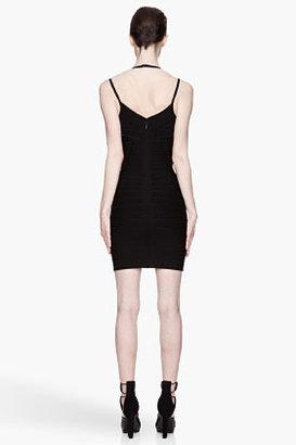 Herve Leger Black open panel bandage dress